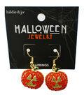 hildie & jo Halloween Jack-o\u0027-Lantern Gold Earrings-Orange Crystals