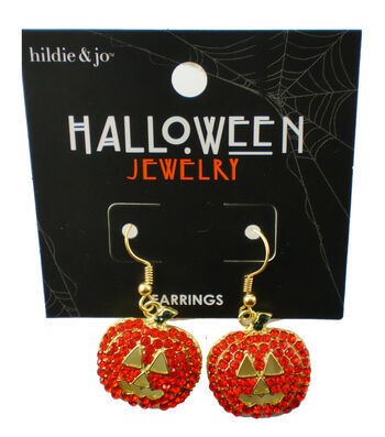 hildie & jo Halloween Jack-o'-Lantern Gold Earrings-Orange Crystals