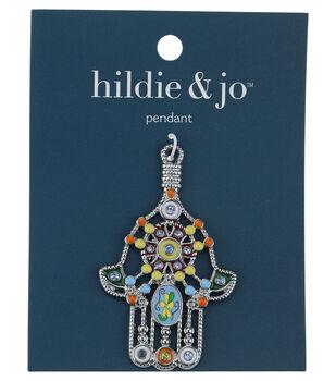 Blue Moon Beads Pendant, Hamsa Hand with enamel, Silver