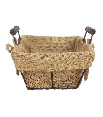 Organizing Essentials 8x8 Wire Basket with Burlap Liner