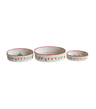 Christmas 3 pk Stoneware Oval Ramekins