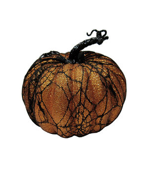 Maker's Halloween Small Orange Spider Web Pumpkin