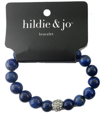 hildie & jo Stone Beads Stretch Bracelet-Blue with Silver Crystal
