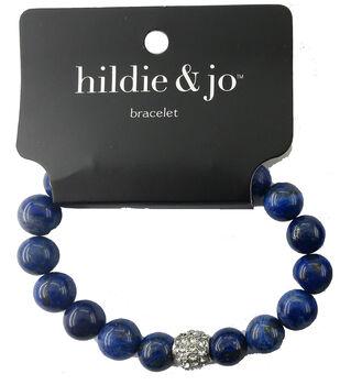 hildie & jo Stone Beads Stretch Bracelet-Blue with Silver Crystal