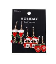 hildie & jo Christmas Holiday Owl, Mitten & Dangle Earrings, , hi-res