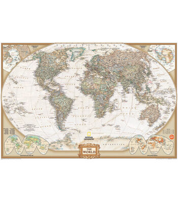 "Wall Pops National Geographic Dry Erase World Map Decal, 24"" x 36"""