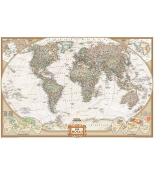 """Wall Pops National Geographic Dry Erase World Map Decal, 24"""" x 36"""""""