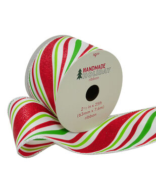 Handmade Holiday Christmas Ribbon 2.5''x25'-Red & Lime Candy