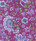 Keepsake Calico Cotton Fabric 43\u0022-Butterfly Floral on Purple