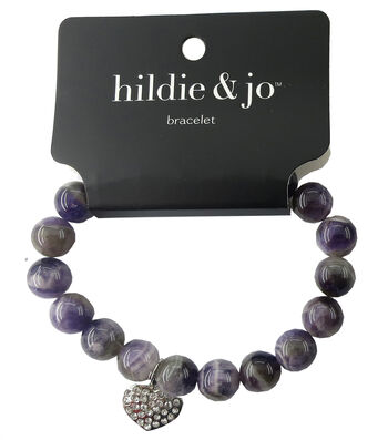 hildie & jo Beads Stretch Bracelet-Purple with Silver Heart Charm
