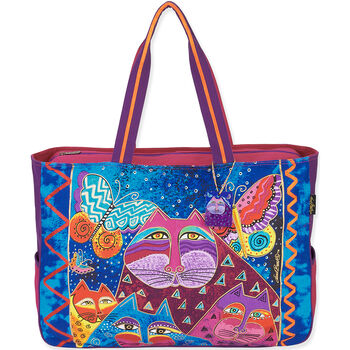 """Laurel Burch Tote- Medium Tote 15""""X4""""X10"""" Cats With Butterflies"""
