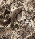 Halloween Fabric-Tattoo Skull Black On Gray Knit Glitter