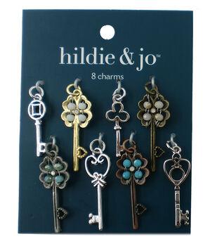 hildie & jo 8 Pack Keys Charms-Round Stones