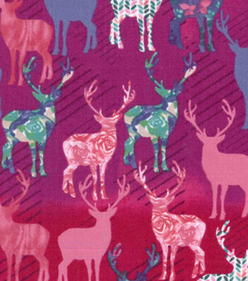 Premium Cotton Print Fabric 43''-Trapped Floral Deer