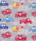 Blizzard Fleece Fabric-Transportation on Gray