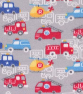 "Blizzard Fleece Fabric 59""-Transportation on Gray"