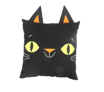 Maker's Halloween 18''x18'' Novelty Pillow with Ears-Black Cat