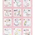Stamped White Nursery Quilt Blocks 9\u0022X9\u0022-Girls