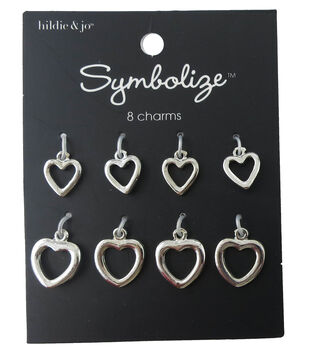hildie & jo Symbolize 8 Pack Heart Silver Charms