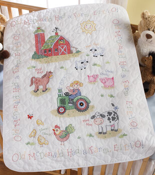 "Bucilla On The Farm Crib Cover Stamped Cross Stitch Kit-34""X43"""
