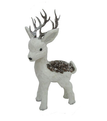 Blooming Holiday Christmas Pinecone Standing Deer-White