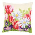 Vervaco Needlepoint Cushion Top Kit 16\u0027\u0027X16\u0027\u0027-Spring Flowers Stitched