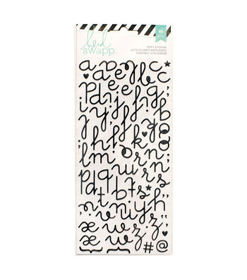 Heidi Swapp 81 Pack Glitter Puffy Alphabet Stickers-Black