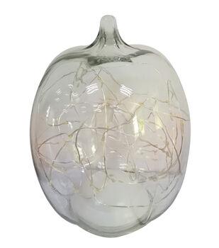 Simply Autumn 7'' LED Glass Pumpkin-Clear