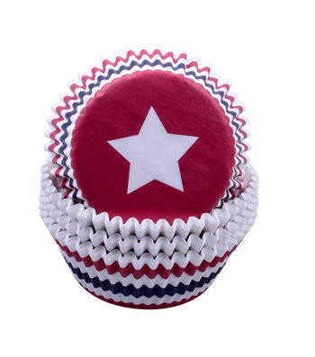 Land of the Free Baking Patriotic 75 pk Cupcake Liners-Star & Stripes