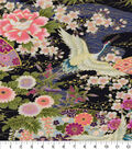 Asian Inspired Cotton Fabric -Floral Main Blue Metallic