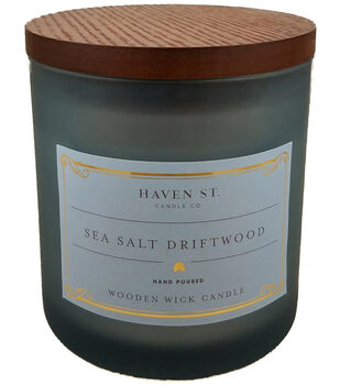 Haven St. Candle Co. Sea Salt Driftwood Scented Wooden Wick Jar Candle