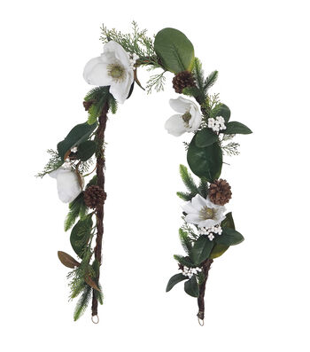 Blooming Holiday Christmas 66'' White Magnolia, Berry & Pinecone Garland