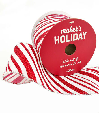 Maker's Holiday Christmas Ribbon 2.5''x25'-Red Glitter Candy Stripes