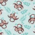 Blizzard Fleece Fabric-Monkeys on Aqua