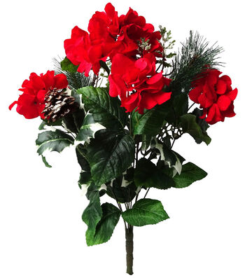Blooming Holiday Christmas 21'' Hydrangea, Pinecone & Pine Bush-Red