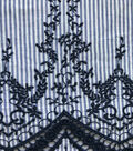 Cotton Fabric with Embroidery Border-Blue & White Stripes