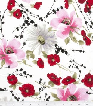 Simply Silky Prints Peach Skin Fabric -Cosmos & Poppy Spray