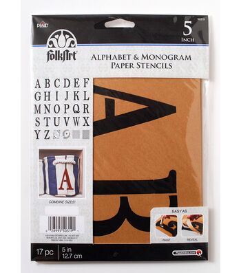 FolkArt 17 pk 5'' Alphabet & Monogram Paper Stencils-Serif Font