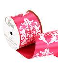 Offray 2.25\u0022 x 9\u0027 Damask Ribbon-Pink/White