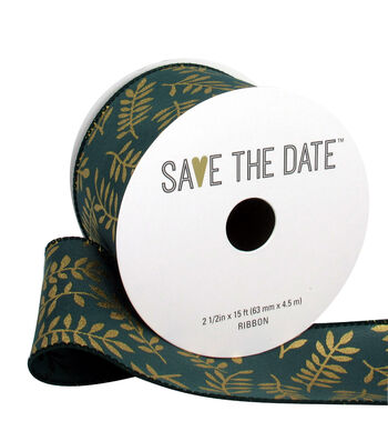 """Save the Date 2.5"""" x 15ft Ribbon-Gold Fern On Hunter"""