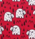 Blizzard Fleece Fabric 59\u0022-Polar Bears on Red