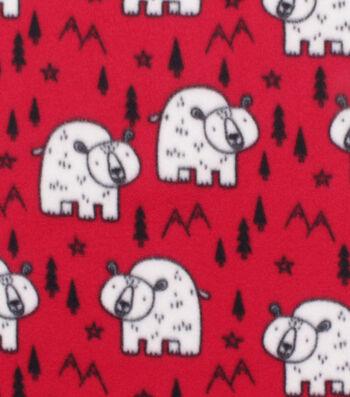"Blizzard Fleece Fabric 59""-Polar Bears on Red"