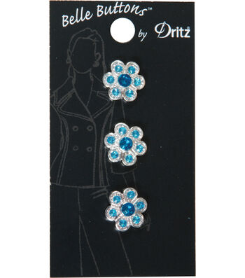 Dritz Belle Button 14mm Stone Flower Turquoise