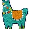 Simplicity Embroidered Llama Iron-on Applique
