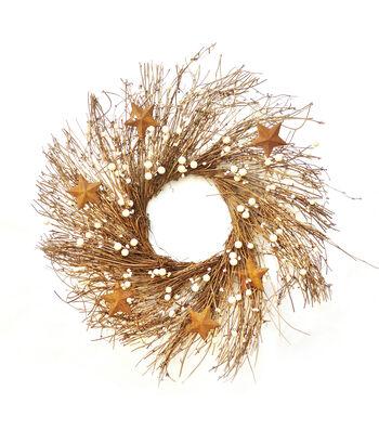 Blooming Autumn 24'' Berry & Barn Star Wreath-White