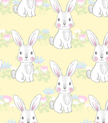 Nursery Flannel Fabric-Bunny Yellow