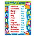 Months of the Year Owl-Stars! Learning Chart 17\u0022x22\u0022 6pk