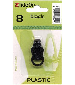 ZlideOn Zipper Pull Replacements Plastic 8-Black