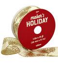 Maker\u0027s Holiday Christmas Ribbon 1.5\u0027\u0027x30\u0027-Glitter Branches on Ivory