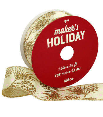Maker's Holiday Christmas Ribbon 1.5''x30'-Glitter Branches on Ivory